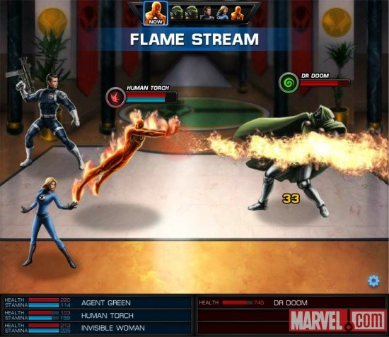 Screenshot of the Invisible Woman and the Human Torch vs. Doctor Doom in Marvel: Avengers Alliance