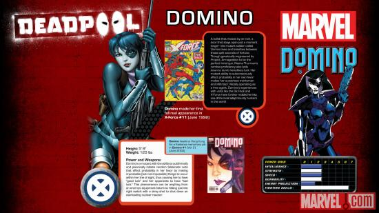 Domino info sheet from the Deadpool video game