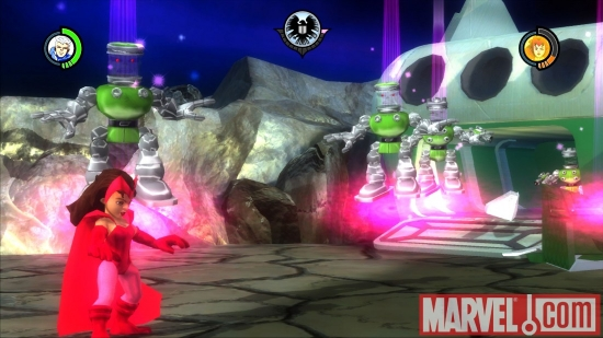 "Screenshot of Scarlet Witch from ""Super Hero Squad: The Infinity Gauntlet"""