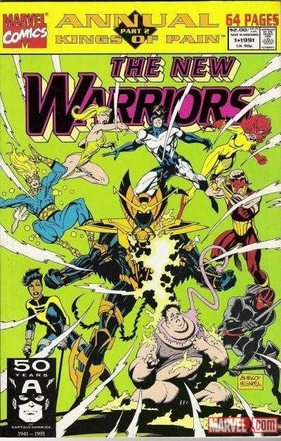 New Warriors Annual #1 cover by Mark Bagley & Mike Mignola