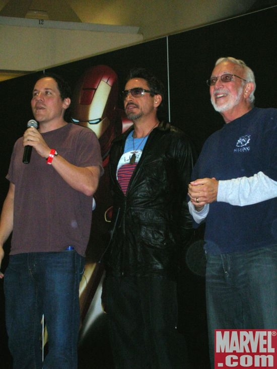 Jon Favreau, Robert Downey Jr. and Stan Winston