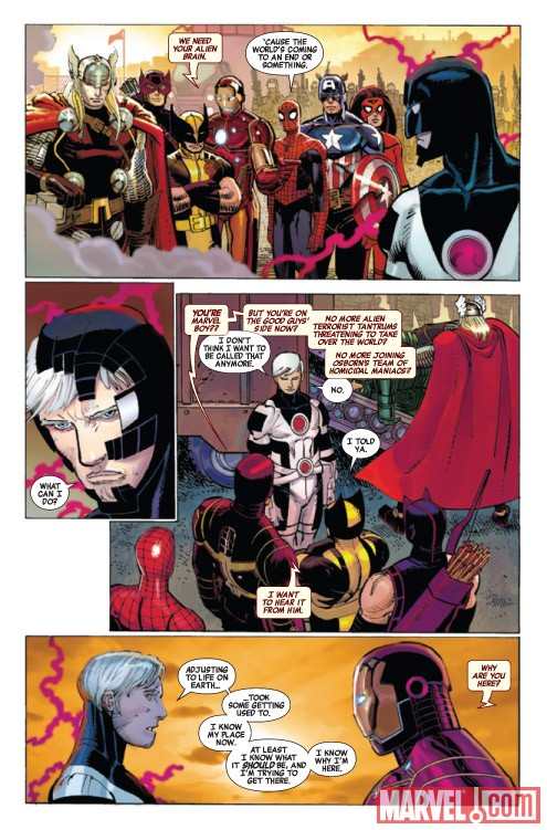 Image Featuring Marvel Boy, Spider-Woman (Jessica Drew), Spider-Man, Thor, Wolverine, The Winter Soldier, Hawkeye