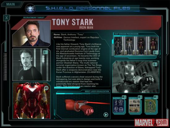 Screenshot of Tony Stark Personnel File from the Second Screen Experience app