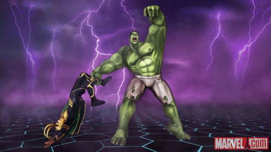 Screenshot of Loki and Hulk from Marvel Avengers: Battle for Earth