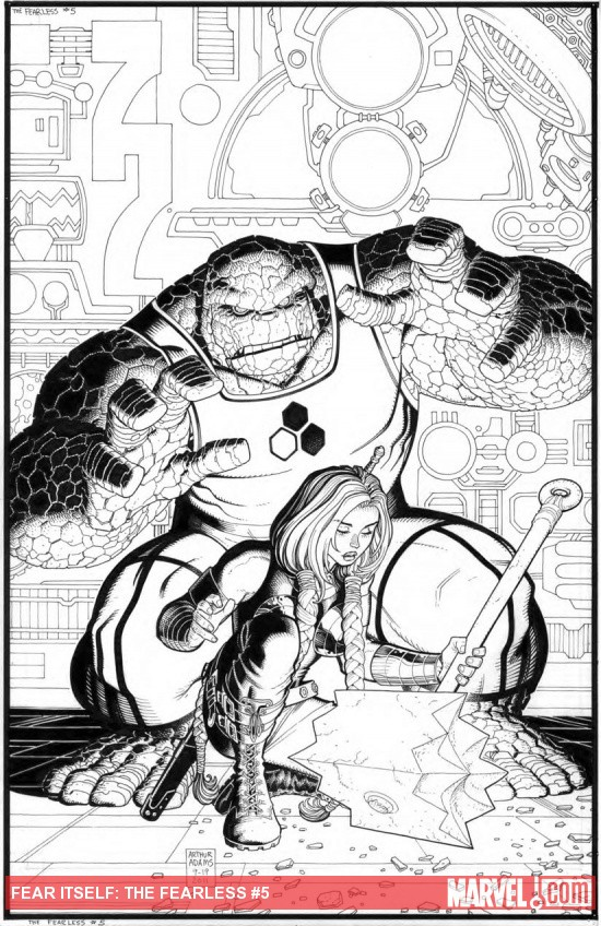 Fear Itself: The Fearless #5 inked cover by Arthur Adams