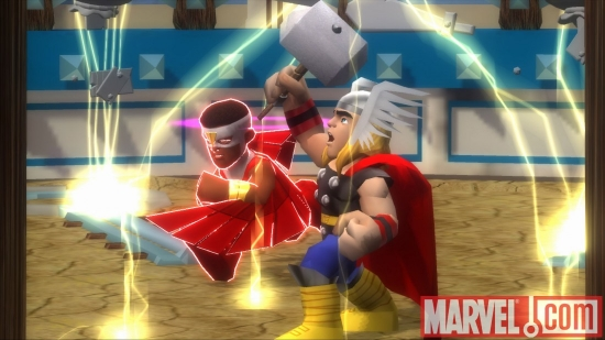 "Screenshot of Thor and the Falcon from ""Super Hero Squad: The Infinity Gauntlet"""