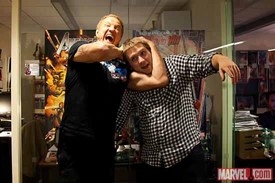 Diamond Dallas Page with Marvel Comics editor Jon Moisan at Marvel HQ