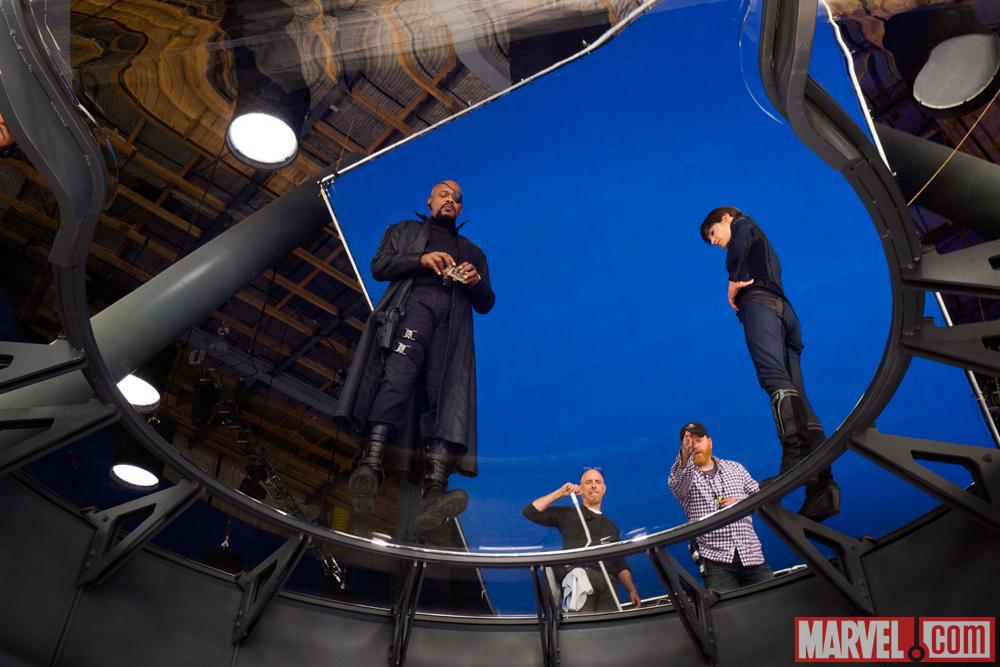 Samuel L. Jackson and Cobie Smulders on set of Marvel's The Avengers
