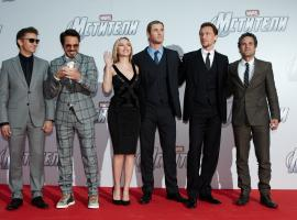 The cast on the red carpet of the Moscow premiere of Marvel's The Avengers