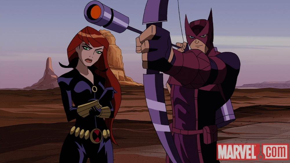 Black Widow and Hawkeye from The Avengers: Earth's Mightiest Heroes!