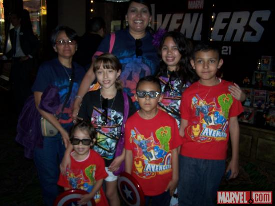Families assembled for El Capitan Theatre's midnight screening of Marvel's The Avengers