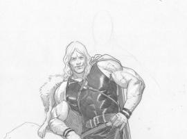 Young Thor pencil sketch by Esad Ribic