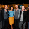Clark Gregg, Tom Hiddleston, Cobie Smulders, Chris Hemsworth, Joss Whedon, and Kevin Feige at screening