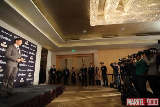 Jeremy Renner at the Beijing premiere of Marvel's The Avengers