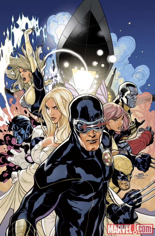 Image Featuring Cyclops, Dazzler, Emma Frost, Nightcrawler, Wolverine, X-Men, Pixie