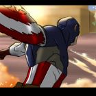 Captain America in action in a color storyboard from Marvel's Avengers Assemble