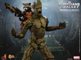 Rocket and Groot Hot Toys Collectible Figures