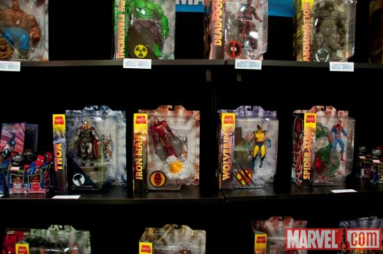 Marvel Select Figures on shelf from Diamond Select at Toy Fair 2011