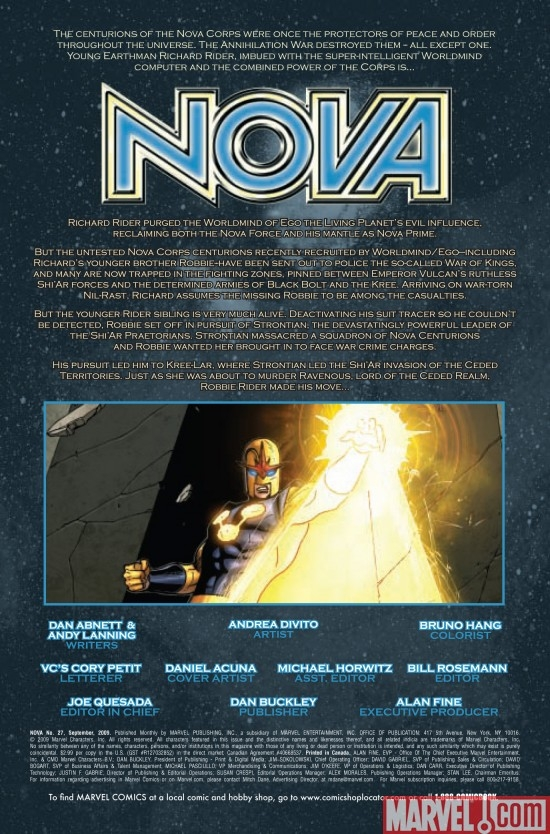 NOVA #27, intro page