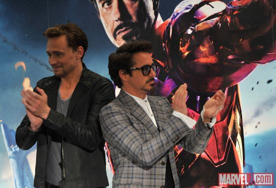 "Robert Downey, Jr. and Tom Hiddleston at the London press conference for ""Marvel's The Avengers"""