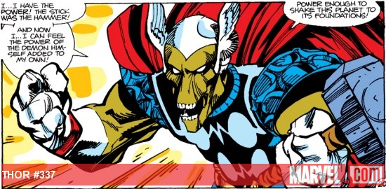 Beta Ray Bill wields Mjolnir for the first time