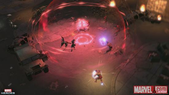 Screenshot of Iron Man and Scarlet Witch in action in Marvel Heroes