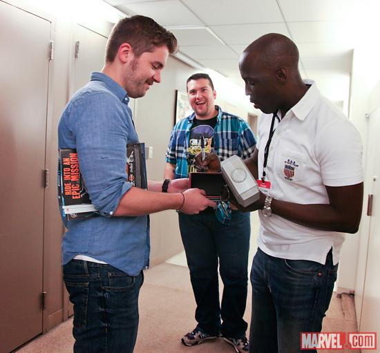 Actor Michael K. Williams with Marvel Associate Producer Blake Garris and Agent M
