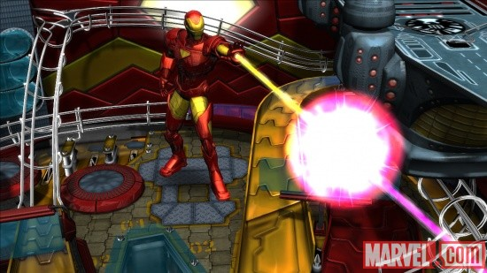 Iron Man firing his repulsors in Marvel Pinball