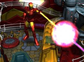 Iron Man firing his repulsors in Marvel Pinball