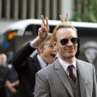 Michael Fassbender (Magneto) and Lucas Till (Havok) at the 'X-Men: First Class' red carpet event in NYC