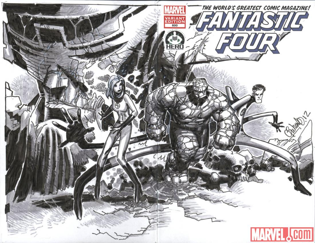 Fantastic Four #600 Hero Initiative variant cover by Chris Bachalo