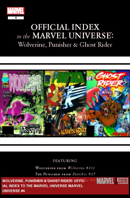 WOLVERINE, PUNISHER & GHOST RIDER OFFICIAL INDEX TO THE MARVEL UNIVERSE 4