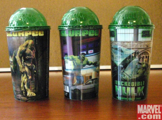 Three different Incredible Hulk novelty cups