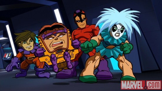 Toad, M.O.D.O.K., Klaw and Screaming Mimi from The Super Hero Squad Show