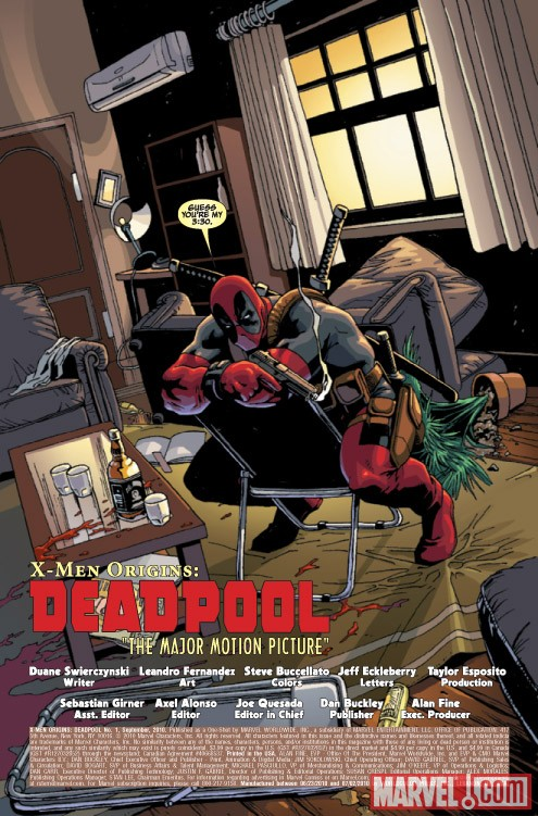 X-MEN ORIGINS: DEADPOOL #1 preview art by Leo Fernandez