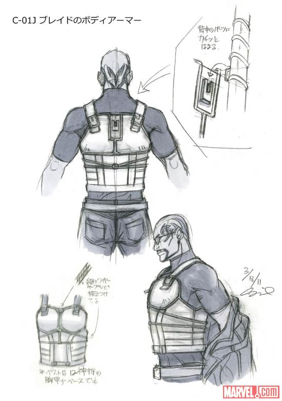 Pencil art of Blade's body armor from the Blade anime