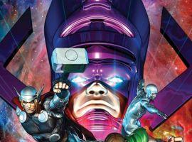 Image Featuring Silver Surfer, Thor, Sersi, Venus (Siren), Amadeus Cho, Galactus