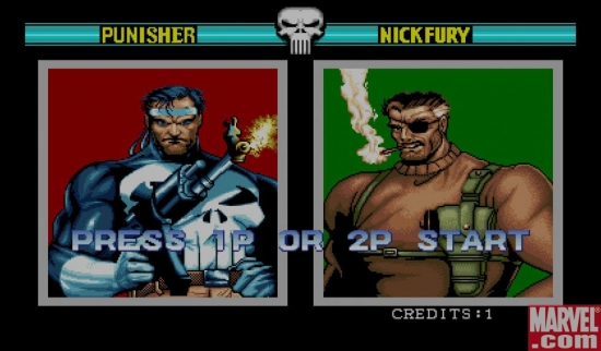 The Punisher arcade game start screen