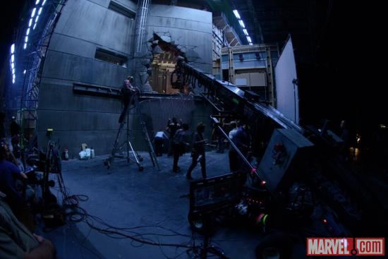 A hole is broken into a wall on the set of The Wolverine, taken from director James Mangold's Twitter