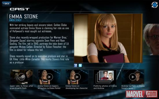 Emma Stone as Gwen Stacy in The Amazing Spider-Man Second Screen App