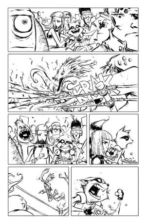 Rocket Raccoon (2014) #1 black and white preview art by Skottie Young