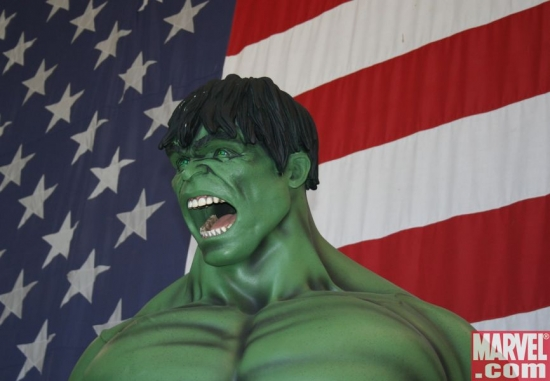 Hulk in front of a giant American Flag