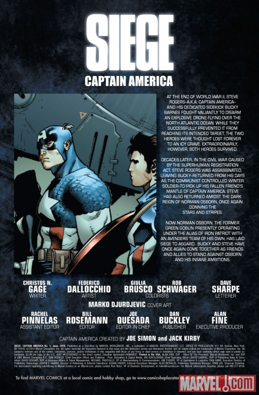 SIEGE: CAPTAIN AMERICA #1 preview art by Federico Dallocchio
