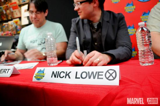Nick Lowe at Avengers Vs X-Men Release Party at Midtown Comics