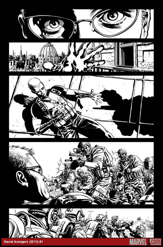 Secret Avengers (2013) #1 black and white preview art by Luke Ross