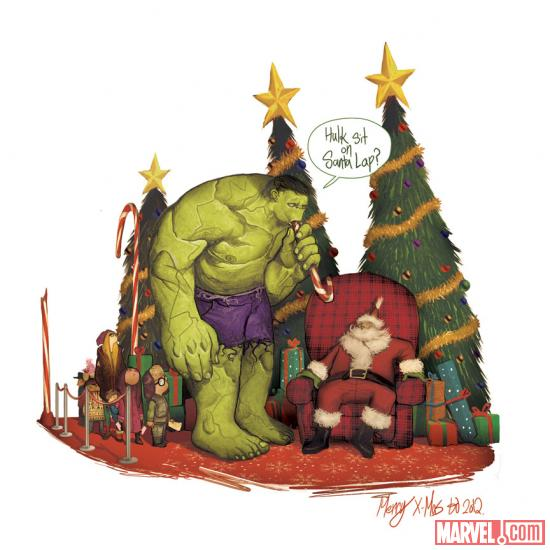2012 Happy Holidays card from Mike del Mundo, featuring Hulk