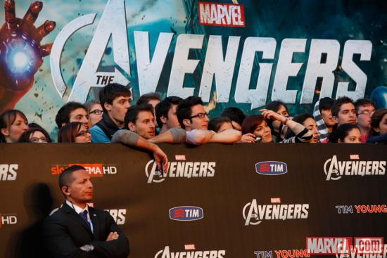 Fans at the Rome red carpet premiere of Marvel's The Avengers