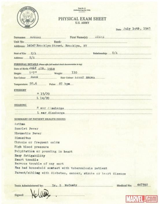 Steve Rogers' physical exam sheet from Captain America: The First Avenger