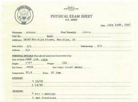 Steve Rogers' physical exam sheet from Captain America: The First Avenger