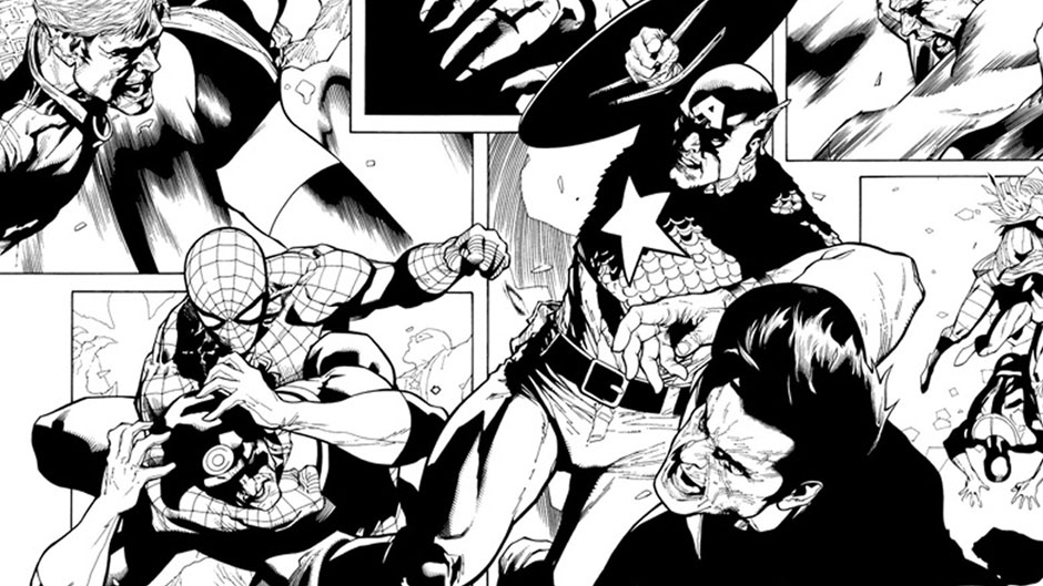 Civil War preview inks by Leinil Yu